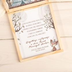 KARTKA urodzinowa na Roczek pudełko Z PODPISEM Boho Zwierzątka