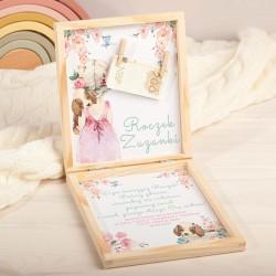 ŻYCZENIA na Roczek pudełko na pieniądze Z PODPISEM Flower Girl