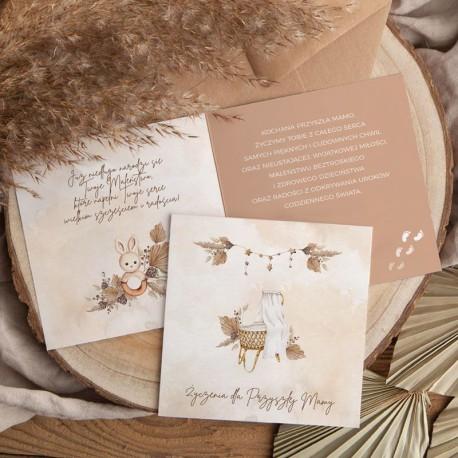 KARTKA z życzeniami na Baby Shower Boho (+koperta kraft)