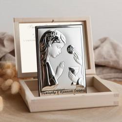 PAMIĄTKA I Komunii dla dziewczynki Srebrny Obrazek próba 925 LUX