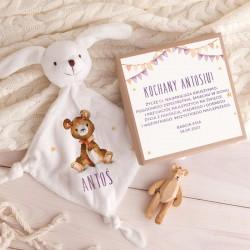 PREZENT na narodziny chłopca Przytulanka Z IMIENIEM w pudełku