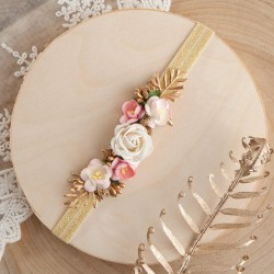 OPASKA na główkę z kwiatami w stylu Vintage (P003)