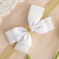 OPASKA na główkę elegancka Biała Kokarda+złoto (P006)