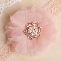 OPASKA na główkę na Chrzest i do sesji Puszysty kwiat z perłami