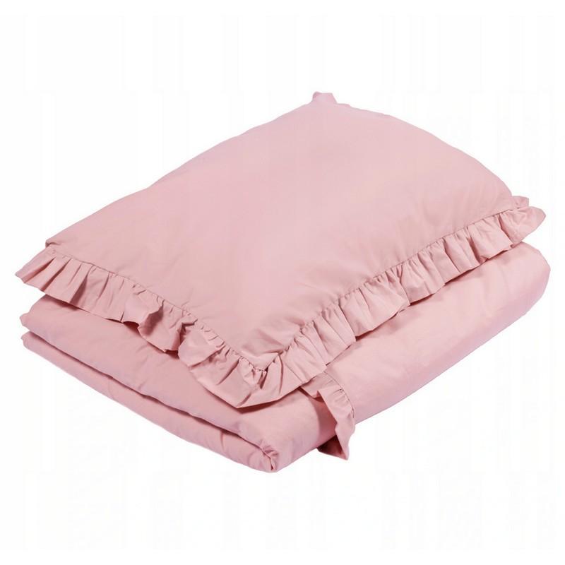 Pościel z falbanką do łóżeczka malutkiej dziewczynki