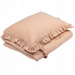 POŚCIEL do łóżeczka z falbanką 120x90cm Beżowy