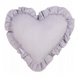 PODUSZKA w kształcie serca z falbanką Jasnoszara