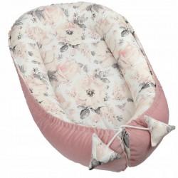 ZESTAW 5w1 Kokon niemowlęcy + akcesoria Kwiaty Pudrowy Róż