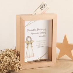 SKARBONKA drewniana prezent na Komunię Z IMIENIEM Anioł Stróż