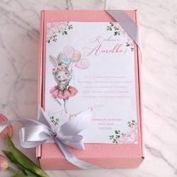 PREZENT na Chrzest/narodziny w pudełku Z IMIENIEM Zestaw Spinek 18 elementów