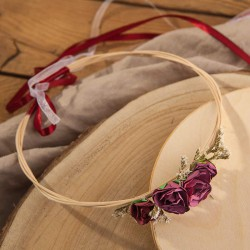 WIANEK komunijny boho do sesji Bordowe Kwiaty regulowany