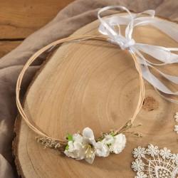 WIANEK komunijny Białe Kwiaty regulowany