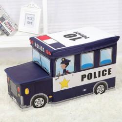 POJEMNIK na zabawki pufa dla dzieci Wóz Policja
