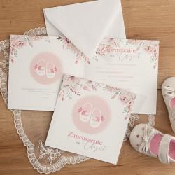 ZAPROSZENIA na Chrzest dziewczynki Różowe Buciki 10szt (+koperty)