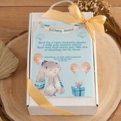 PREZENT na narodziny/Chrzest Z IMIENIEM z zabawką sensoryczną BŁĘKIT