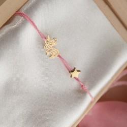 PREZENT dla dziewczynki w pudełku Bransoletka Jednorożec POZŁACANA