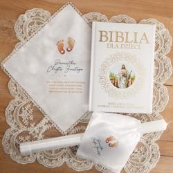 PREZENT na Chrzest świeca+chusteczka+Biblia UNIWERSALNY Stópki -10%