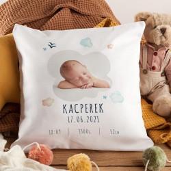 PREZENT dla dziecka poduszka metryczka ZE ZDJĘCIEM DZIECKA Chmurki