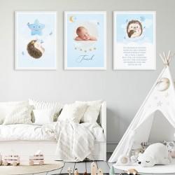 PLAKATY do dziecięcego pokoju ZE ZDJĘCIEM DZIECKA w ramie A4 Niebieski Jeż 3szt