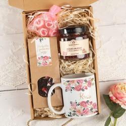 PREZENT dla Mamy Box Z PODPISEM Różany MAŁY