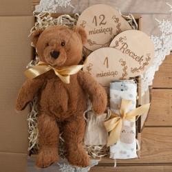 PREZENT na Narodziny dziecka Z IMIENIEM Miś Mega Box