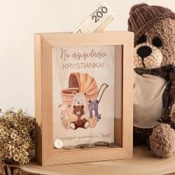 SKARBONKA drewniana prezent na Chrzest Z IMIENIEM Niedźwiadek Retro