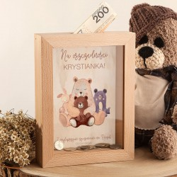 SKARBONKA drewniana prezent na Roczek Z IMIENIEM Niedźwiadek Retro