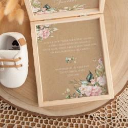 PAMIĄTKA Chrztu życzenia pudełko Z PODPISEM Pudrowe Kwiaty