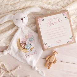 PREZENT na narodziny dziewczynki Przytulanka Z IMIENIEM w pudełku
