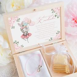 PREZENT dla dziecka w pudełku Króliczek Ballerina Bransoletka Nieskończoność POZŁACANA