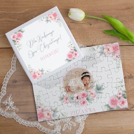PODZIĘKOWANIE dla Chrzestnych/Dziadków Chrzest Puzzle ZE ZDJĘCIEM 35el Róż