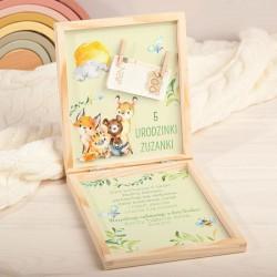 ŻYCZENIA urodzinowe pudełko na pieniądze Z PODPISEM Leśne Zwierzątka