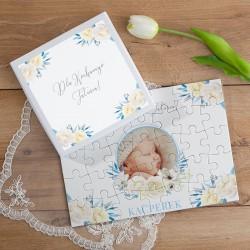 PUZZLE na prezent w pudełku Kocham Cię Tatusiu ZE ZDJĘCIEM 35el Błękit