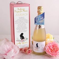 PREZENT na Baby Shower Wino bezalkoholowe w pudełku RÓŻ Piwonie +IMIĘ