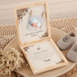 GRATULACJE dla Dziadków na Narodziny Wnuka, Wnuczki pudełko+klamerki Z PODPISEM Boho