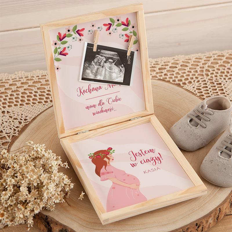 Sposób na poinformowanie o ciąży pudełko na zdjęcie USG