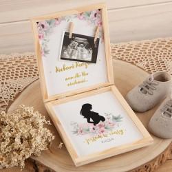 JAK powiedzieć o ciąży pudełko Z PODPISEM na zdjęcie USG Piwonie