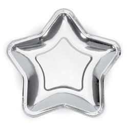 TALERZYKI papierowe Gwiazdka SREBRNE 18cm 6szt KONIEC SERII