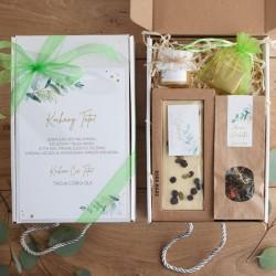PREZENT dla Taty Dzień Ojca pudełko Z PODPISEM Gałązka Eukaliptusa z czekoladą
