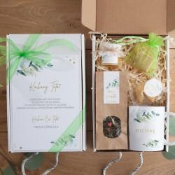 PREZENT dla Taty Dzień Ojca Z PODPISEM Eukaliptusowy BOX z kubkiem