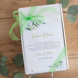 PREZENT na Dzień Matki Z PODPISEM Eukaliptusowy BOX z kubkiem