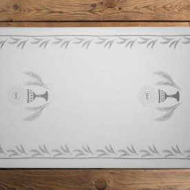 BIEŻNIK dekoracja stołu Komunia Kielich SREBRNY 40cmx24m SUPER