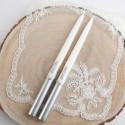 ŚWIECE proste brokacone Srebrna Hostia LUX 30cm 2szt