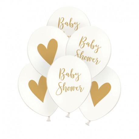 BALONY na Baby Shower z sercem dwustronne ZŁOTY NAPIS 6szt