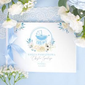KSIĘGA Pamiątkowa Chrztu Świętego Kwiatowy Wózek BŁĘKIT Z IMIENIEM (+błękitna wstążka)