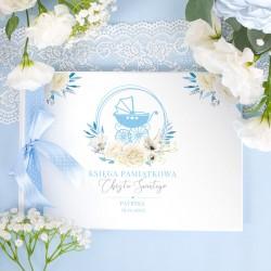 KSIĘGA Pamiątkowa Chrztu Świętego Błękitny Wózek Z IMIENIEM