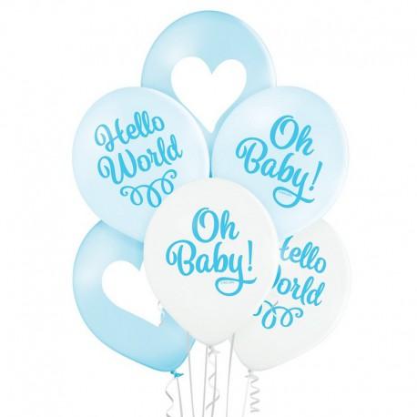 BALONY na Chrzest i Baby Shower chłopca Oh Baby 6szt