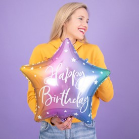 BALON urodzinowy foliowy gwiazda 40cm Happy Birthday TĘCZOWY