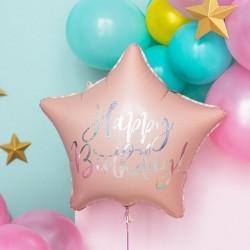 BALON urodzinowy foliowy gwiazda 40cm Happy Birthday JASNY RÓŻ