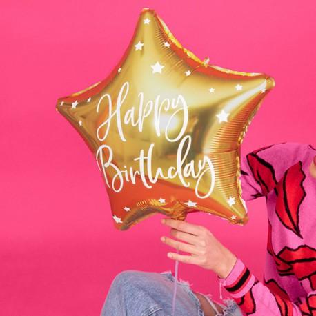BALON urodzinowy foliowy gwiazda 40cm Happy Birthday ZŁOTY